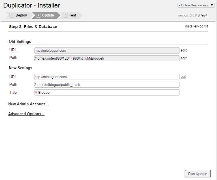 Duplicator - Update