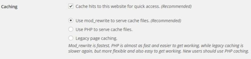 WP Super Cache - Caching