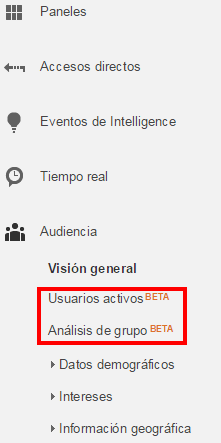 Menú Audiencia en Google Analytics