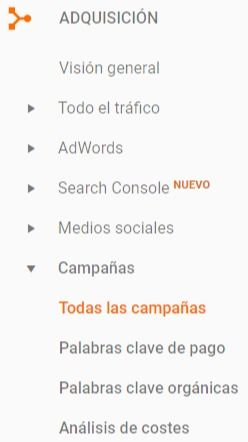 Campañas - Google Analytics