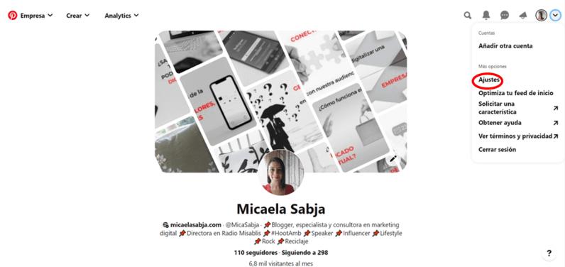 Pinterest ara empresas configuración