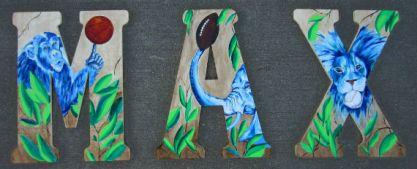 "Day 286: Three 18"" x 13"" acrylic on wooden letters"