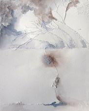 Clearing a Path, Watercolor and pinholes on paper