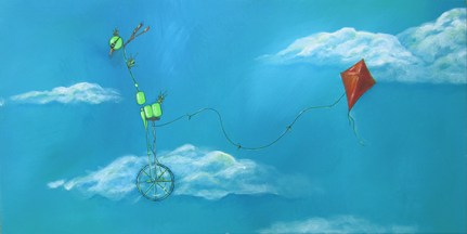 "Sold: Bird on Bike: Flying a Kite, 20 x 36"" Acrylic and ink on canvas, 2013"