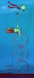 "Bird on Bike: Farmer's Market, 22 x 10"" Acrylic and ink on canvas, 2013"