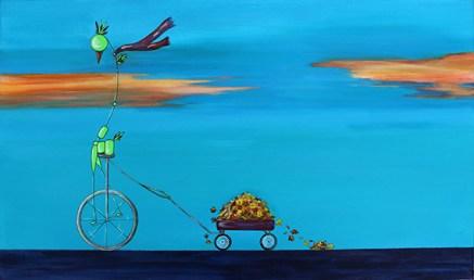 "Bird on Bike: Yardwork, 18 x 30"" Acrylic and ink on canvas, 2013"