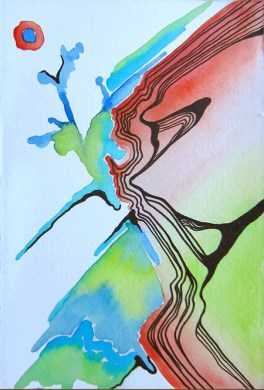 """Water's Footprint, ~3 x 5"""" Watercolor and ink on paper"""