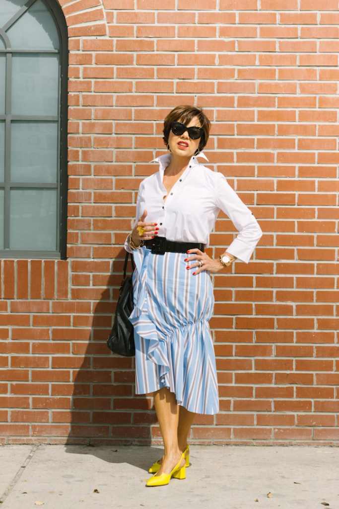 ruffled striped skirt and white button down