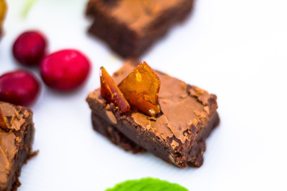 Detail of my Nocciolata Brownies with Himalayan Pink Salt