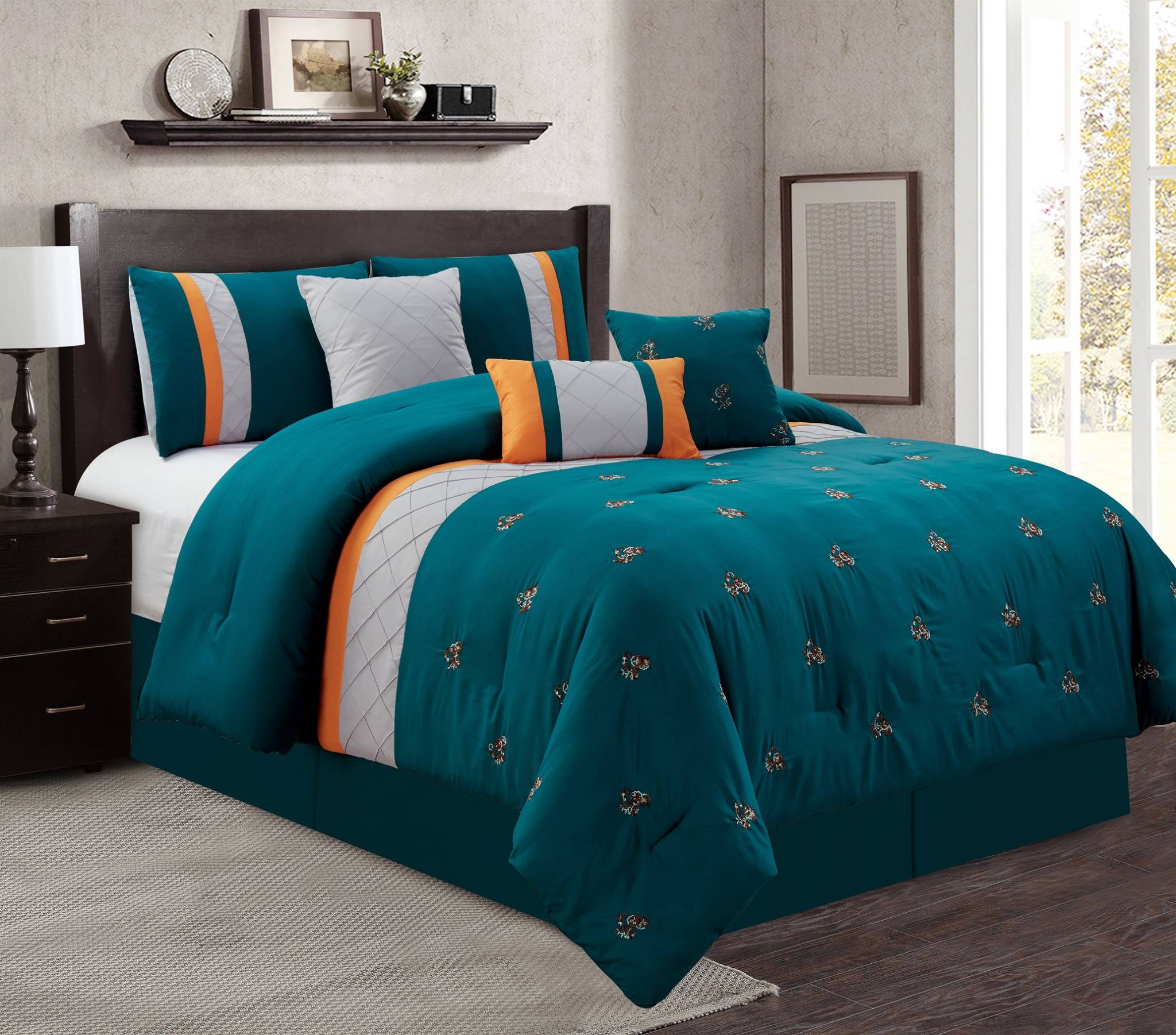grey kitchen rugs single handle pullout faucet luxury 7 piece comforter set teal/grey/orange floral ...