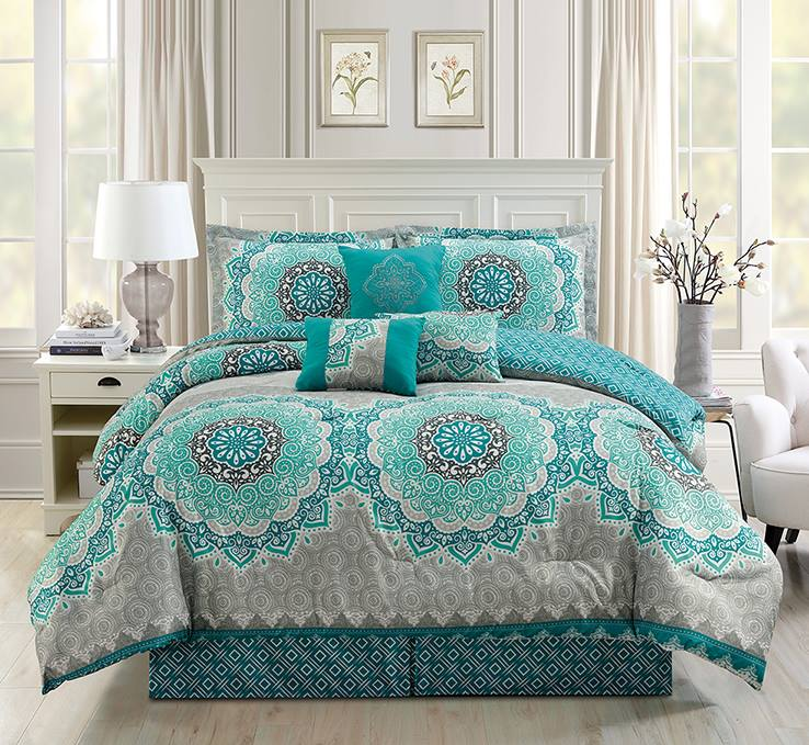 7 Piece Teal Turquoise Grey White Medallion Print Pattern