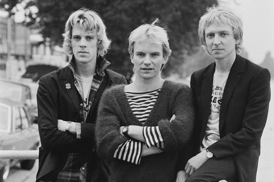 A picture of the three members of The Police: Stewart Copeland, Sting, and Andy Summers.