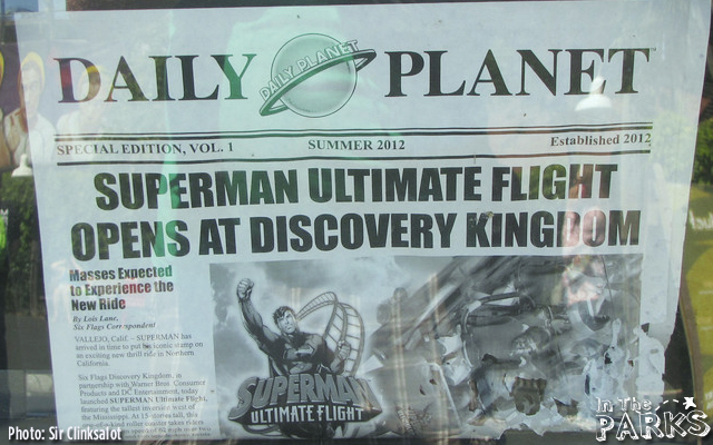 The Daily Planet announcing the rides opening last summer