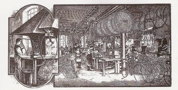 Fahrradproduktion in den Eisenwerken um 1890