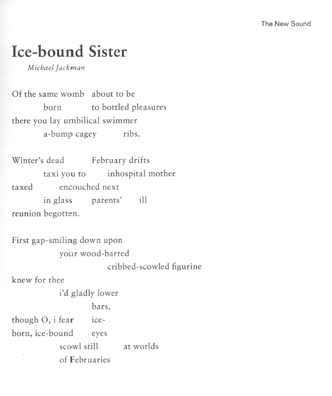 Ice Bound Sister (poem) by Michael Jackman from The New Sound v2.1