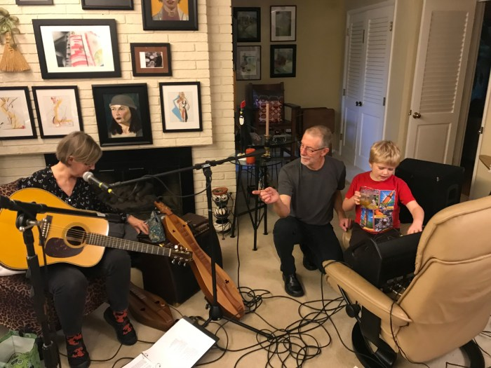 Molly's Mutts tech rehearsal with Theo learning sound from David - 23 Oct 2018