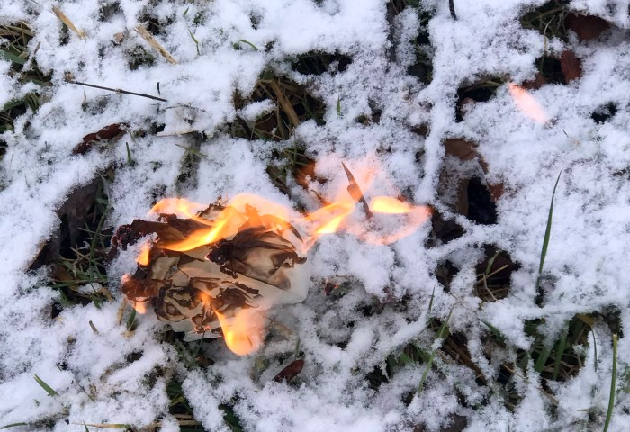 Wax paper makes a good eco-friendly fire starter.