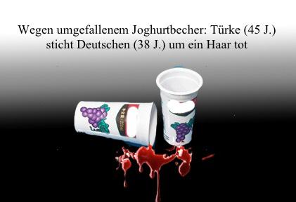 Angriff wegen Joghurt