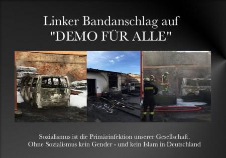 Demo fuer alle Brandanschlag