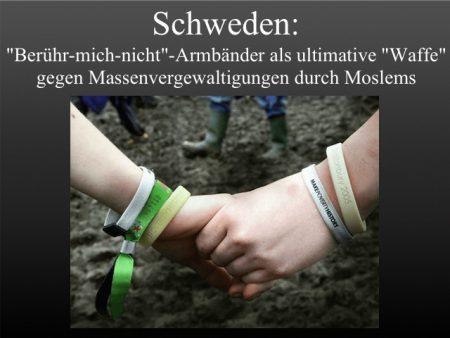 Armbaender in schweden gg Vergewaltig