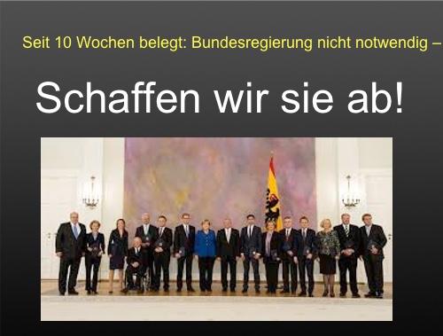 Seit 10 Wochen belegt: Bundesregierung nicht notwendig – schaffen wir sie ab!