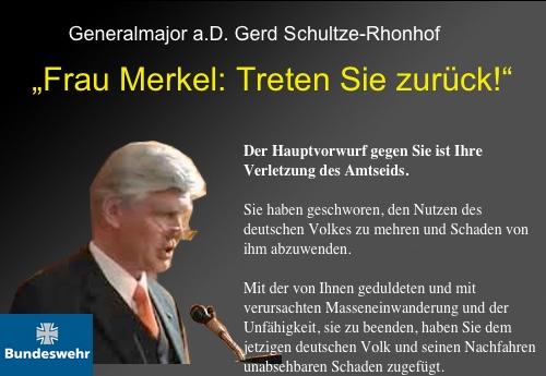 """""""Frau Merkel: Treten Sie zurück!"""" Zweiter offener Brief von Generalmajor a.D. Gerd Schultze-Rhonhof an Angela Merkel"""