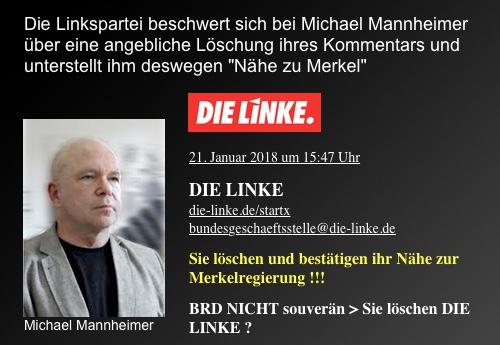 Bundesgeschäftstelle der Linkspartei beschwert sich bei Michael Mannheimer über angebliche Löschung ihres Kommentars