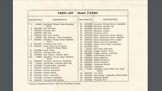 Parts list for the Craftsman 115.6962 1/2 HP motor. See also the parts breakdown diagram image that precedes this one.
