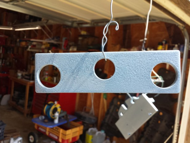 Drag bar, painted with Rust-oleum Hammered Light Blue.