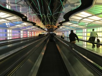 This is not a camera effect. It actually looks like this. It's an airport walkway.
