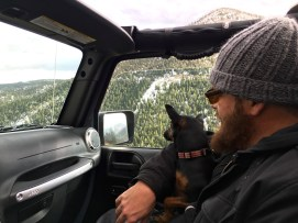 Kevin and Codex in my new Jeep.