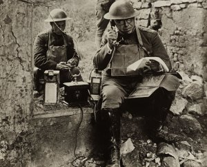 Soldiers manning a portable trench phone