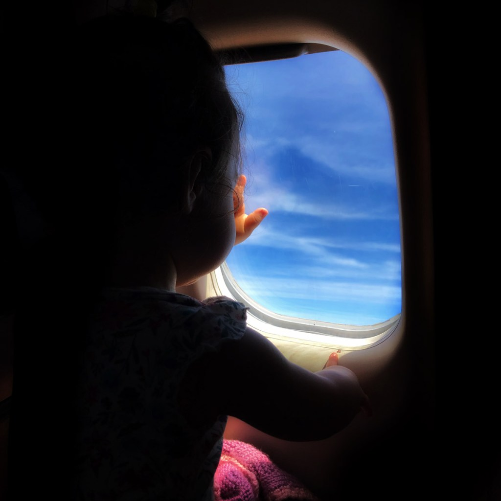 Looking out the window on flight to California.