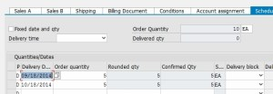 Multiple schedule lines on a Sales Order item