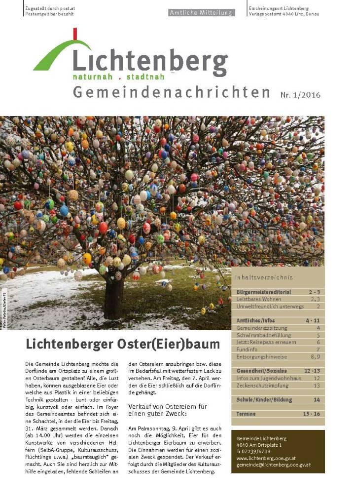 Gemeindenachrichten Lichtenberg, Ausgabe Nr. 1/2017