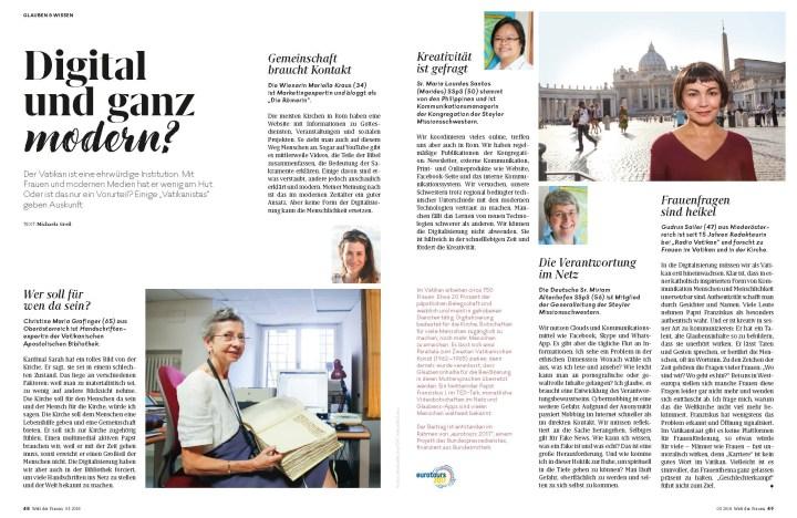 """Jetzt online nachlesen: """"Digital und ganz modern?"""" – 6D / WELT DER FRAUEN-exklusiv / #eurotours2017 – Italien – #FRAUEN #digitaleKIRCHE #Magazinjournalismus #Recherche"""