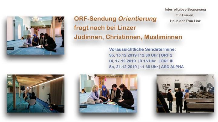"6D/Artikel | ORF-Sendung ""Orientierung"" fragt nach bei Linzer Jüdinnen, Christinnen und Musliminnen | 15.12.2019"