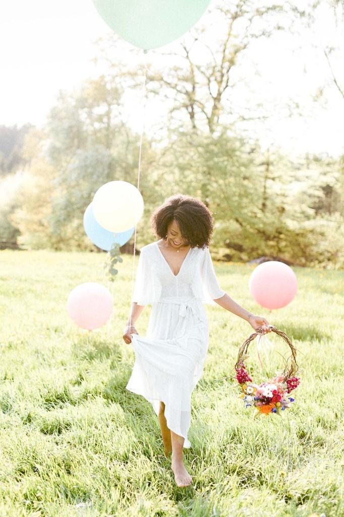 Ballons Abendsonne Brautportrait