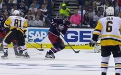 Zach Werenski Takes A Hockey Puck To The Face