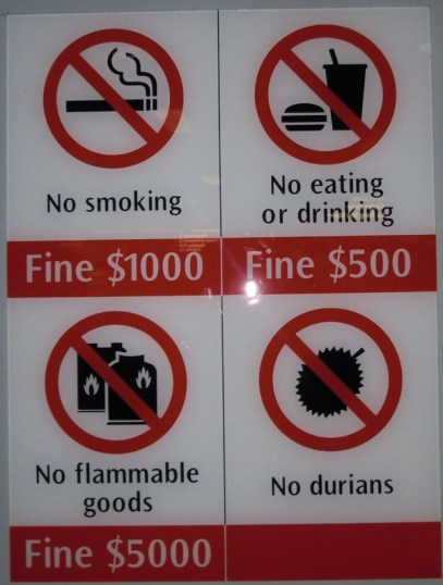 Sign showing the no-no's