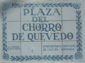 Porcelain tile sign of the square where some believe Bogota was founded