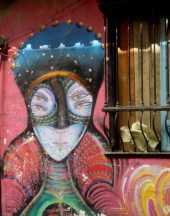 Art work on wall in Candelaria. This one was done by a now well known urban artist from Bogotá, Rodez