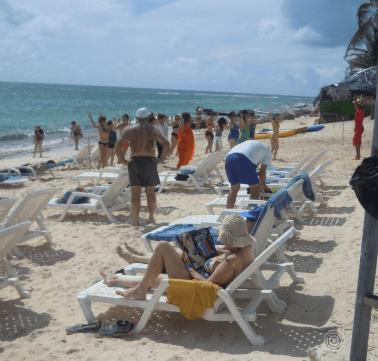 Aerobics on the beach near Decameron San Luis hotel