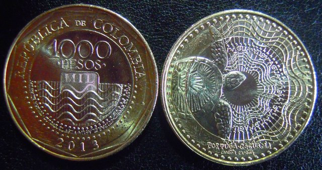 Both sides of the new 1,000 Colombian peso