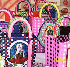 a colorful bags with religious themes