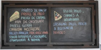 Menu of colored chalk on black board