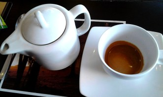Coffee is served with hot water