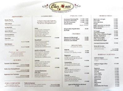 Chez Moi coffee shop Chia Colombia menu