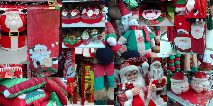 Christmas decorations in stores in Colombia