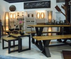 Great pieces of furniture in many booths.